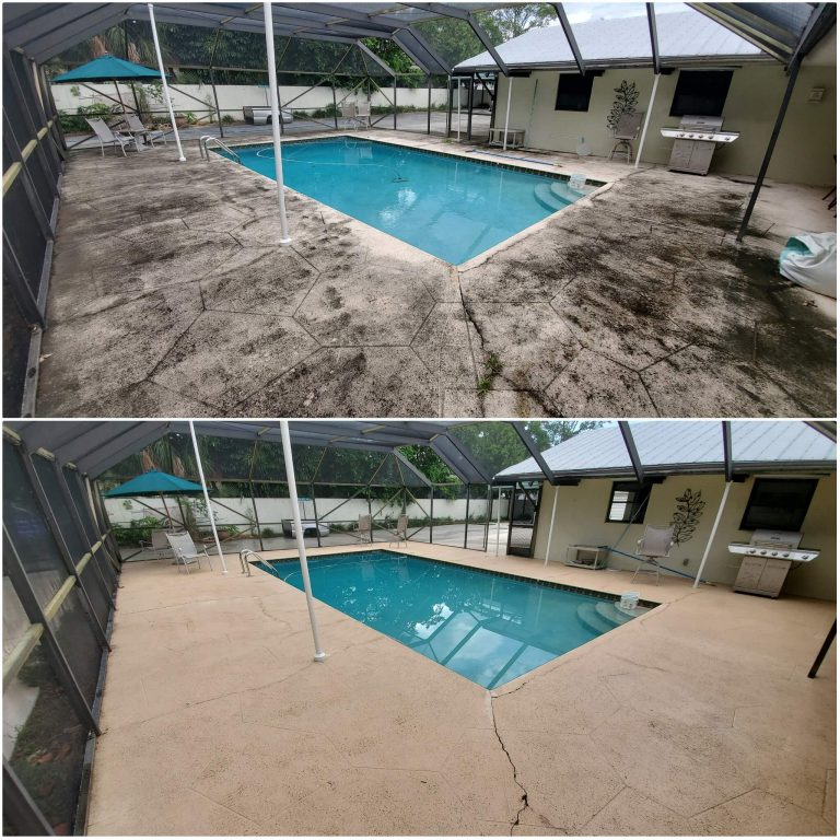 A filthy pool area with black streaks everywhere, and the same pool area after being washed