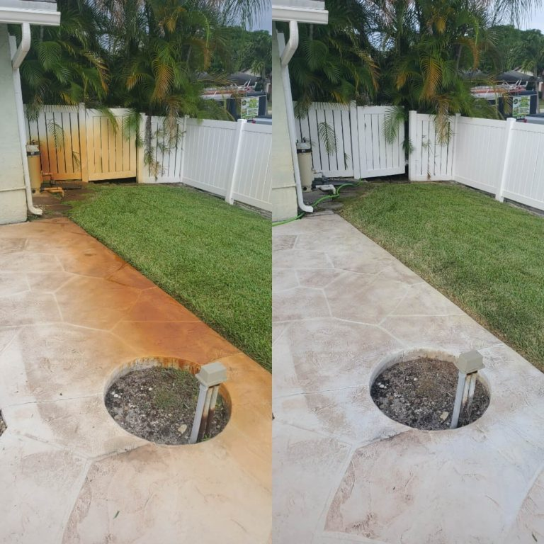 Two images displaying the difference of rust removal services on a fence and concrete surface