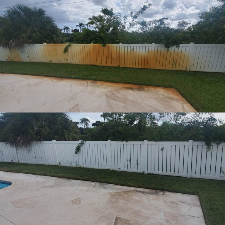 Before and after images of a white fence that had rust removal performed by Oleyn's