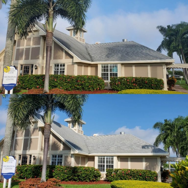 An apartment complex building before and after having the roof professionally soft washed