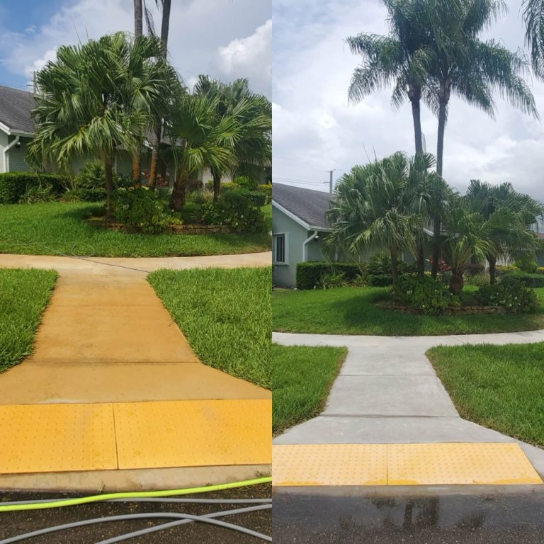 A sidewalk before and after being pressure washed
