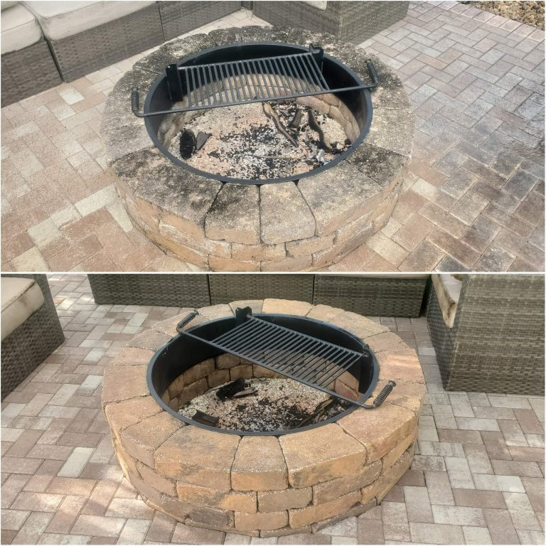 A filthy, soot-covered fire pit and the results after being professionally cleaned