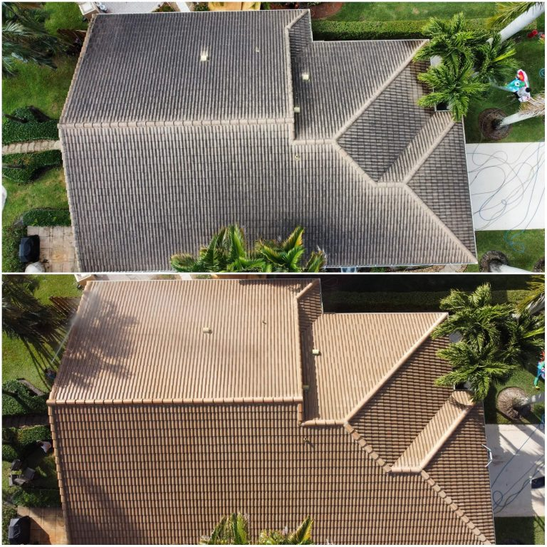 Aerial images of a roof before and after being soft washed