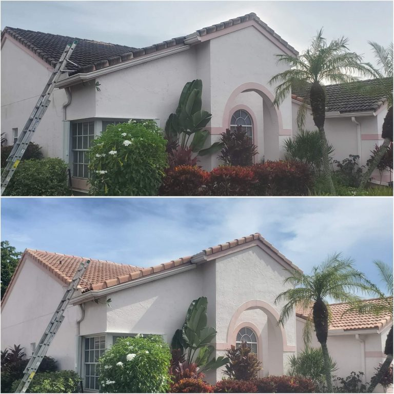 Two images of a roof that was black and filthy, but is now vibrant and restored
