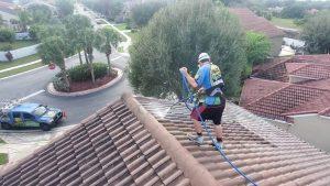 An Oleyn's employee on a roof soft washing the shingles